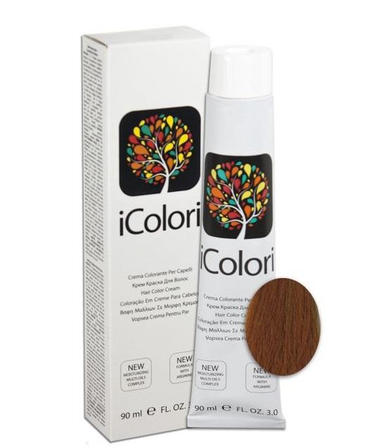 KAYPRO 7.34 краска для волос, золотисто-медный блондин / ICOLORI 90млКраски<br>Инновационный стойкий краситель с минимальным содержанием аммиака. Так же содержит Аргинин, применение которого в профессиональных косметических средствах направлено на стимулирование роста волос, расширение сосудов кожи головы, способствует улучшению кровоснабжения и общему оздоровлению волосяного покрова. После окрашивания волосы становятся более блестящими и шелковистыми, цвет держится дольше. Все цвета можно смешивать между собой для получения широкого диапазона цветов. Крем-краска обладает повышенной степенью увлажнения, равномерной плотностью и стойкостью цвета - естественные цвета с богатыми тонами. Краситель был специально разработан, чтобы защитить волосы и кожу головы во время окрашивания. Легкий в применении. Способ применения: внимательно прочитайте инструкцию на упаковке! Всегда наносится на сухие немытые волосы! Не использовать металлические емкости для смешивания! Всегда одевать защитные перчатки! Провести предварительно тест на чувствительность. Определить натуральный уровень тона волос или уровень косметического тона окрашенных волос. Выберите желаемый цвет. Подготовить красящую смесь с наиболее подходящим процентом перекиси водорода iColori: 10 vol (3%) — 20 vol (6%) — 30 vol (9%) — 40 vol (12%). &amp;nbsp; Действие &amp;nbsp; Результат &amp;nbsp; Пропорции смешивания &amp;nbsp; &amp;nbsp;Оксидант &amp;nbsp; Время выдержки &amp;nbsp; Тон осветления &amp;nbsp; Перманентное окрашивание &amp;nbsp; 100&amp;nbsp;% окрашивание седых волос &amp;nbsp; 1:1,5 &amp;nbsp; 10-20-30-40 Vol &amp;nbsp; 30-40 &amp;nbsp; 1-3 &amp;nbsp; Осветление &amp;nbsp; &amp;nbsp; 1:2 &amp;nbsp; 40&amp;nbsp;Vol &amp;nbsp; 40-50 &amp;nbsp; 4 &amp;nbsp; Тонирование &amp;nbsp; Окрашивание седых волос на&amp;nbsp;70&amp;nbsp;% &amp;nbsp; 1:2 &amp;nbsp; 7&amp;nbsp;Vol &amp;nbsp; 20-25 &amp;nbsp; - Основные принципы теории цвета. Основные цвета: красный, желтый и синий. Путем смешивания основных цветов в ра