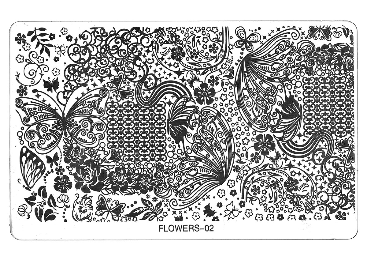 TNL PROFESSIONAL Трафарет металлический большой для стемпинга Царство бабочек (в индивидуальной упаковке)