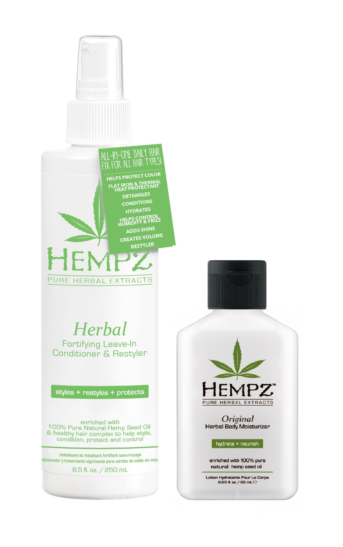 HEMPZ Набор для волос Свежесть (кондиционер несмываемый Здоровые Волосы 250 мл, молочко для тела увлажняющее Оригинальное 66 мл в подарок!) Fresh Take