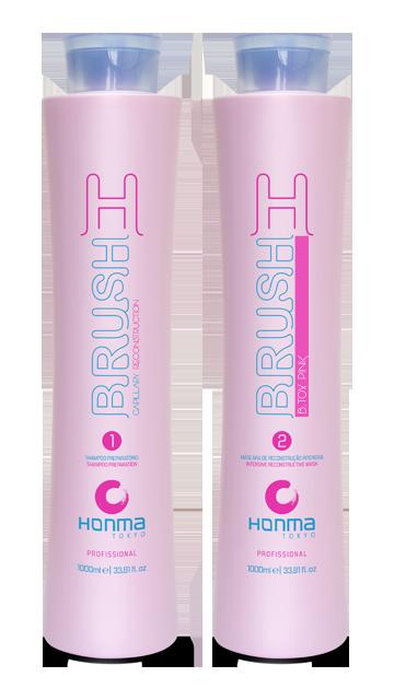 HONMA TOKYO Набор для восстановления и разглаживания волос с розовым пигментом (шампунь 1000 мл, маска реконструктор 1000 мл) H-Brush Botox Capilar Pink - Наборы