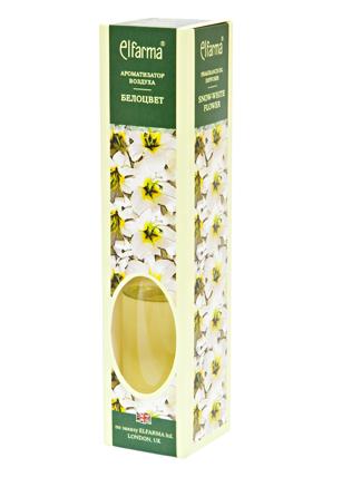 ELFARMA Ароматизатор воздуха Белоцвет 50млАроматы для интерьера<br>Освежитель наполнит комнату ясным весенним цветочным ароматом. Тростниковые ароматизаторы Эльфарма удобный, безопасный и экономичный способ придать помещению восхитительный аромат: - не содержат токсичных и разрушающих озоновый слой веществ - эффективно удаляют неприятные запахи - аромат сохраняется от 1 до 4 мес. - просто: откройте флакон и вставьте в него тростниковые палочки. Когда они пропитаются жидкостью, воздух наполнится ароматом. - стильное дополнение интерьера В наборе: ароматизатор воздуха в стеклянном флаконе с деревянной пробкой, тростниковые палочки Активные ингредиенты: вода, парфюмерная композиция Способ применения: откройте флакон и вставьте в него тростниковые палочки. Когда они пропитаются жидкостью, воздух наполнится ароматом. Интенсивность запаха можно регулировать, меняя количество палочек в диффузоре. Для небольшого помещения достаточно 3-х палочек во флаконе. Противопоказания: индивидуальная непереносимость, обострение аллергии Меры предосторожности: хранить в недоступном для детей месте. При попадании в глаза промыть проточной водой. Следует избегать соприкосновения жидкости с деревянными и пластиковыми поверхностями. Способ хранения: хранить при комнатной температуре<br><br>Объем: 50 мл