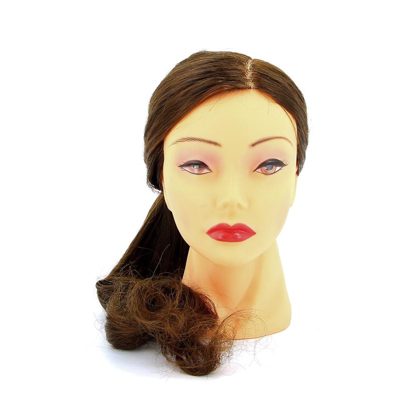 DEWAL PROFESSIONAL Голова учебная шатенка, протеиновые волосы 50-60см манекен с натуральными волосами