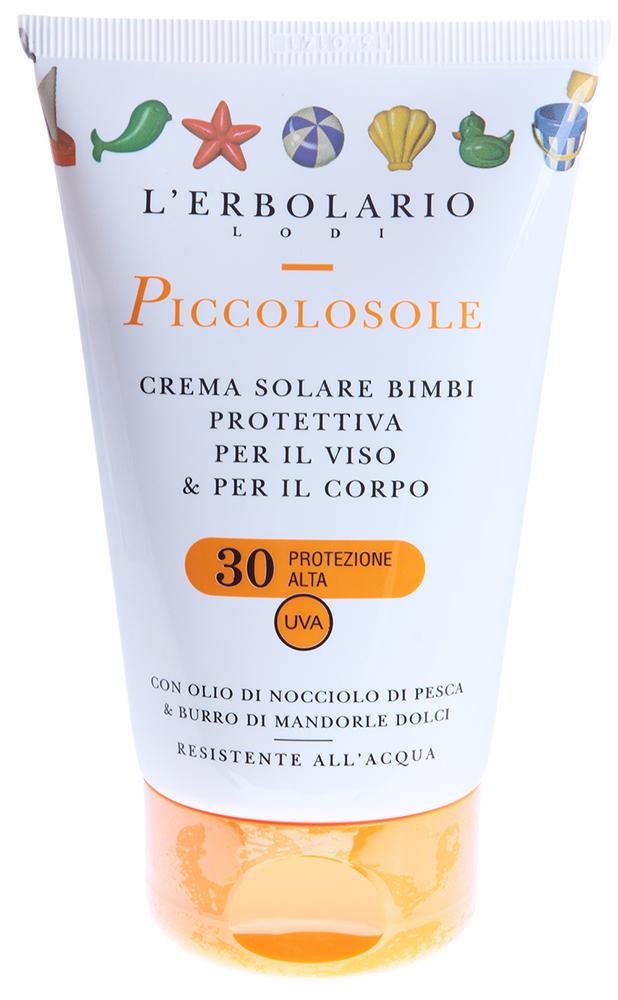 LERBOLARIO Крем детский солнцезащитный для лица и тела Солнышко с маслом из персиковых косточек 125мл
