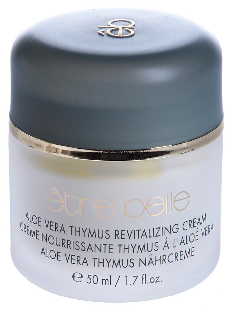 ETRE BELLE Питательный крем с Алоэ Вера и Тимусом / Aloe Vera Thymus Cream 50млКремы<br>Интенсивный, богатый полезными веществами, восстанавливающий крем со специальным биотехнологически произведенным экстрактом тимуса. Этот экстракт обладает оживляющими и восстанавливающими свойствами и рекомендуется для очень сухой и зрелой кожи. Прекрасно защищает кожу от агрессивных внешних воздействий Показания: для сухой, грубой, потрескавшейся, требующей восстановления кожи. Для зрелой, очень сухой и тонкой кожи, утратившей подкожный жир Активные вещества: Алоэ Вера, экстракт тимуса, пчелиный воск, соя, токоферол, линоловая кислота, магний, каротин, витамин А Способ применения: Крем наносится на предварительно очищенную кожу легкими массирующими движениями. Особенно рекомендуется использовать этот крем для сухой и поврежденной кожи. Можно использовать в качестве основы для термомаски.<br><br>Возраст применения: После 25<br>Типы кожи: Сухая и обезвоженная