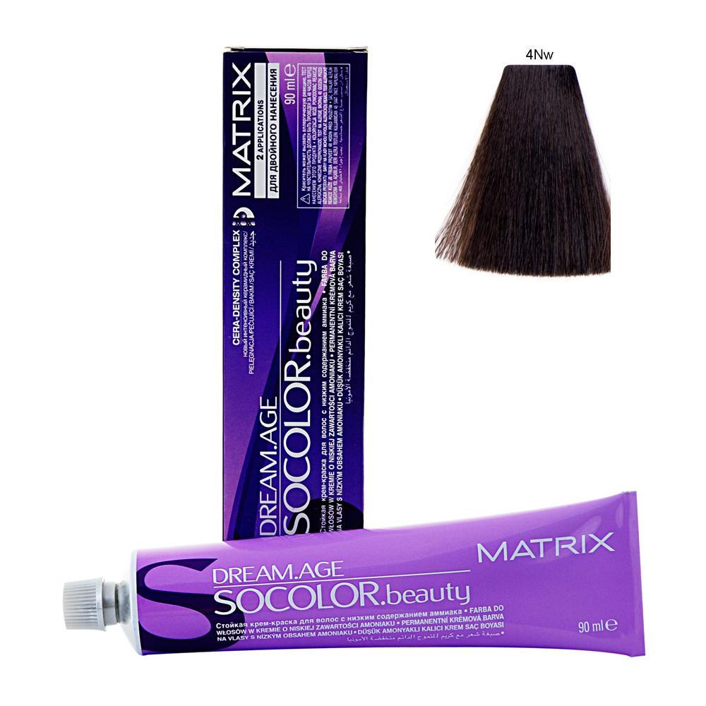 MATRIX 4NW краска для волос / СОКОЛОР БЬЮТИ D-AGE 90млКраски<br>Крем-краска Dream Age специально разработана для проведения окрашивания седых волос. Оттенки для волос с содержанием седины более 50%. Применение запатентованной технологии ColorGrip обеспечивает четкий и яркий оттенок, благодаря самонастраивающимся красителям, которые взаимодействуют с натуральным пигментом волоса. Также в состав краски входит кондиционер Cera-Oil, что обеспечивает бережных уход, укрепляет и питает структуру волос. Крем-краска удобно наносится и обладает приятным фруктовым ароматом. Богатый пигментами краситель: 100% закрашивание седины Мультирефлективный цвет Формула с низким содержанием аммиака Технология Pre-Softenung смягчает резистентный седой волос перед окрашиванием Не нужно смешивать с другими оттенками Используется с 6% Крем-Оксидантом Способ применения: смешайте краску с активатором в нужных пропорциях, после чего нанесите смесь на волосы и оставьте на 20-45 минут. После процедуры тщательно смойте краску теплой водой и высушите волосы полотенцем.<br><br>Цвет: Корректоры и другие<br>Объем: 90