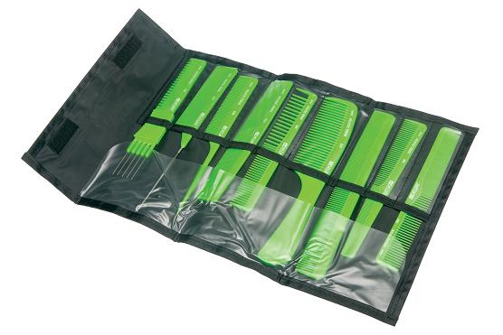 DEWAL PROFESSIONAL Набор расчесок в черном чехле, 9 предметов (салатовый)  - Купить
