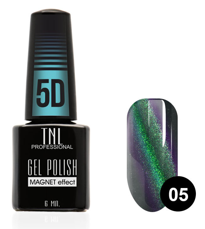 Купить TNL PROFESSIONAL 05 гель-лак для ногтей Кошачий глаз 5D, зеленый-ежевичный 6 мл