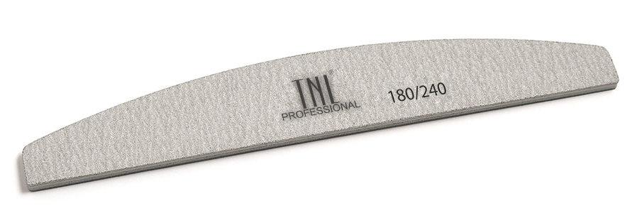 TNL PROFESSIONAL Пилка лодочка для ногтей 180/240, серая (в индивидуальной упаковке)