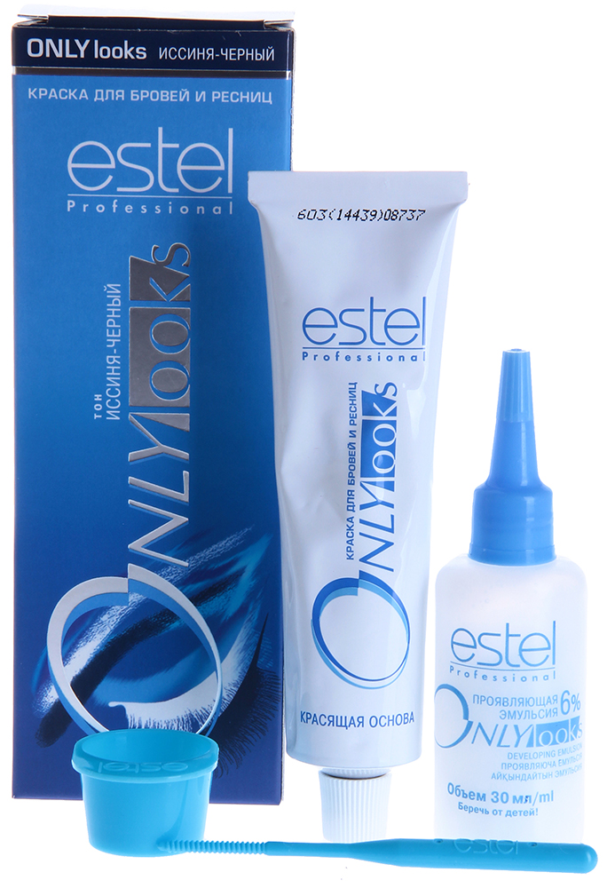 ESTEL PROFESSIONAL Краска для бровей и ресниц иссиня-черный / Estel Only LooksКраски для бровей<br>Оттенок: Иссиня-черная. Специальная краска ESTEL ONLY looks благоприятна для чувствительной кожи вокруг глаз, не содержит парфюмерных масел, имеет мягкую, удобную в обращении консистенцию и нейтральную величину pH. Полученный оттенок держится около 3-4 недель. Одной упаковки краски хватит для многократного использования в течение примерно 1 года. В комплект входит: туба с крем-краской мл, флакон с проявляющей эмульсией, баночка для смешивания, палочка для размешивания и нанесения Способ применения: Крем-краска смешивается в определенной пропорции с проявляющей эмульсией в мисочке для краски, размешивается палочкой или лопаточкой, затем наносится на подготовленные брови и/или ресницы.<br><br>Объем: 30