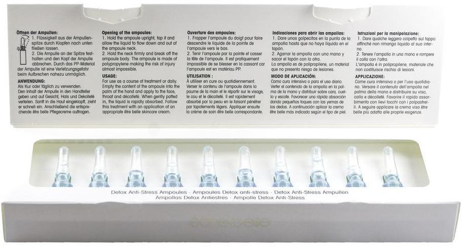 ETRE BELLE Ампулы Детокс Антистресс (Detox-Antistress Ampoules) 10*1.5млАмпулы<br>Ампулы двойного действия для защиты клеток от негативного воздействия окружающей среды. Пурисофт   антистрессовый растительный компонент, образующий на коже естественную защитную пленку. Он предотвращает преждевременное старение, освобождает кожу от вредных веществ на клеточном уровне.Активные ингредиенты: пурисофт, коллаген, гиалуроновая кислота, гидровитон 24. Не содержат парабенов.<br>