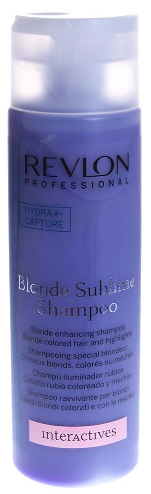 REVLON Шампунь оттеночный усиливающий цвет светлых и блондированных волос/ INTERACTIVES COLOR SUBLIME 250млШампуни<br>Шампунь Blonde Sublime Shampoo наполняет светлые, блондированные и мелированные волосы сильной энергией, усиливающей цвет светлых волос. Усиливая естественный блеск волос, шампунь повышает насыщенность цвета и его яркость, также предотвращая потерю золотистого цвета. Специальная формула шампуня притягивает и удерживает влагу, придавая светлым волосам мягкость и блеск. Шампунь рекомендуется для усиления структуры окрашенных и обесцвеченных волос, а также мелированных локонов.  Способ применения: Небольшое количество шампуня наносится массирующими движениями на увлажнённые волосы. В течение нескольких минут помассируйте волосы, затем смойте.<br><br>Типы волос: Окрашенные