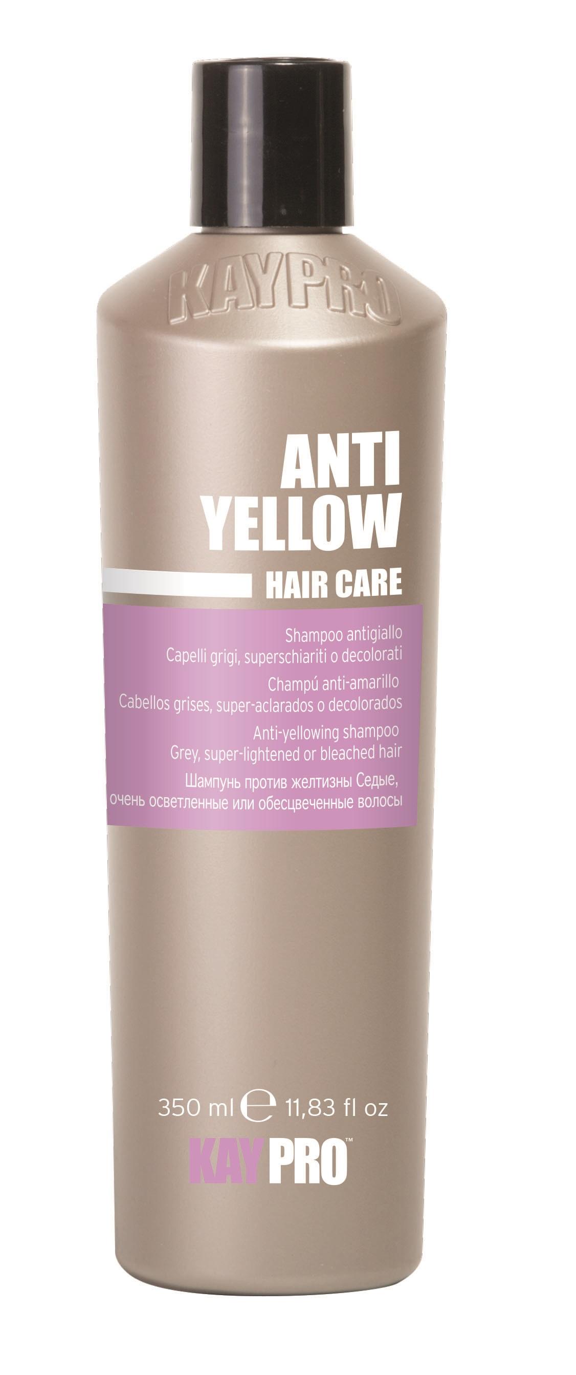 KAYPRO Шампунь оттеночный против желтизны / KAYPRO 350млШампуни<br>ШАМПУНЬ ПРОТИВ ЖЕЛТИЗНЫ ДЛЯ ОСВЕТЛЕННЫХ И СЕДЫХ ВОЛОС. Фиолетовый пигмент притупляет желтые рефлексы, нежелательные на осветленных волосах. Придает блеск седым волосам. Активные ингредиенты: содержит экстракт вина и протеины шелка. Способ применения: нанести на мокрые волосы, помассировать, оставить действовать на 1-5 минут, эмульсировать и смыть водой. Повторить процедуру в случае необходимости<br><br>Цвет: Блонд<br>Объем: 350 мл<br>Вид средства для волос: Оттеночный<br>Типы волос: Седые