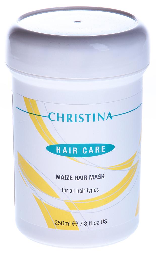 CHRISTINA Маска кукурузная для сухих и нормальных волос / Maize Hair Mask 250млМаски<br>Действие: Маска по составу и свойствам аналогична Silicon Hair Mask, но обогащена кукурузным маслом, поэтому предназначена для волос с поврежденными и/или расщепленными кончиками. Она улучшает структуру волос, защищает от неблагоприятных климатических условий, предохраняет от обезжиривания. Эффективно и значительно облегчает расчесывание. После использования маски волосы становятся шелковистыми на ощупь и приобретают блеск и мягкость. Состав: Вода, цетиловый спирт, цетримониум хлорид, поликватернум-7, ланолин, молочная кислота, диметикон, метилпарабен, пропилпарабен, добавки, экстракты: кукурузы, розмарина, зеленого чая, витамины Е и А, алое вера гель. Применение: Нанести на влажные волосы, хорошо помассировать кожу головы, равномерно распределяя маску. Надеть полиэтиленовую шапочку или поместить голову под рамазон, через 25 минут смыть препарат водой.<br><br>Объем: 250<br>Вид средства для волос: Кукурузная