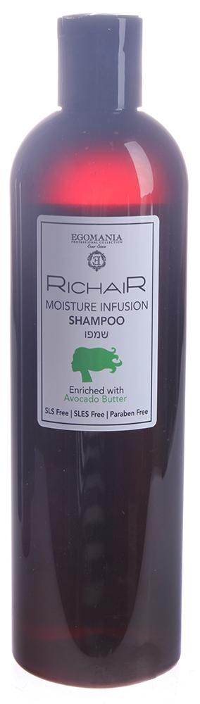 EGOMANIA Шампунь интенсивное увлажнение с маслом авокадо / RICHAIR 400млШампуни<br>Шампунь мягко очищает волосы, нормализует водный баланс волоса. Насыщенная формула шампуня специально разработана для максимального увлажнения волос. Активные ингредиенты: в составе шампуня содержится более 5 масел. Основным маслом является экзотическое масло авокадо из тропических стран. Масло авокадо богато витаминами А, Е и D, которые борются со свободными радикалами, защищают структуру волоса, увлажняют кожу головы и делают волосы более эластичными. Формула продукта включает в себя масло оливы для глубокого питания, воду мертвого моря для восстановления, масло виноградных косточек для антиоксидантной защитой волоса и масло ши для удержания влаги в структуре волос. Это просто живительный источник для истощенных, сухих волос. Способ применения: нанести на влажные волосы 5-10 мл шампуня, хорошо вспенить в течение 3-5 мин. Тщательно промыть волосы теплой водой. Завершающий этап   используйте кондиционер или маску на выбор.<br><br>Объем: 400 мл