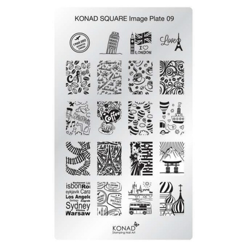 KONAD Пластина прямоугольная / Square Image Plate09 30грСтемпинг<br>Пластина для стемпинга Конад Square Plate 09 с изображениями столиц России, Европы и США, а также узорами с кофейной тематикой. Пластины для стемпинга также называют плитками. На них Вы найдете гораздо больше рисунков для ногтей, чем на обычных дисках.&amp;nbsp; Размер пластины: 135х80 мм Активные ингредиенты: сталь Способ применения: нанесите специальный лак&amp;nbsp;на рисунок, снимите излишки скрайпером, перенесите рисунок сначала на штампик, а затем на ноготь и Ваш дизайн готов! Не переставайте удивлять себя и близких красотой и оригинальностью своего маникюра!<br>