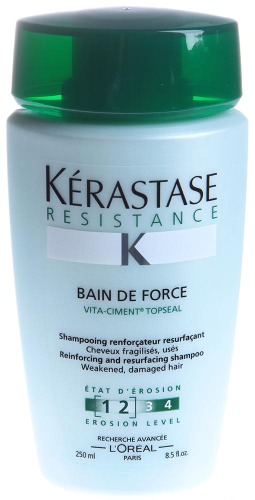 KERASTASE Шампунь для поврежденных волос Форс / RESISTANCE 250млШампуни<br>Укрепляющий и восстанавливающий шампунь. Для ослабленных волос.Укрепляет внутреннюю структуру и обновляет поверхность ослабленных волос. Повышает прочность, восстанавливает структуру и плотность волос. Активные ингредиенты: Vita-Ciment   + Vita-Topseal. Vita-Ciment:   Обогащает межклеточный цемент   Помогает восстановить структуру волоса   Уплотняет волокна волос изнутри Vita-Topseal:   Восстанавливает природный защитный внешний слой   Обеспечивает дополнительную защиту волос, покрывая волокна защищающей от агрессивных воздействий пленкой. Способ применения: нанесите на влажные волосы. Массирующими движениями распределите средство, тщательно смойте. При необходимости повторить.<br>