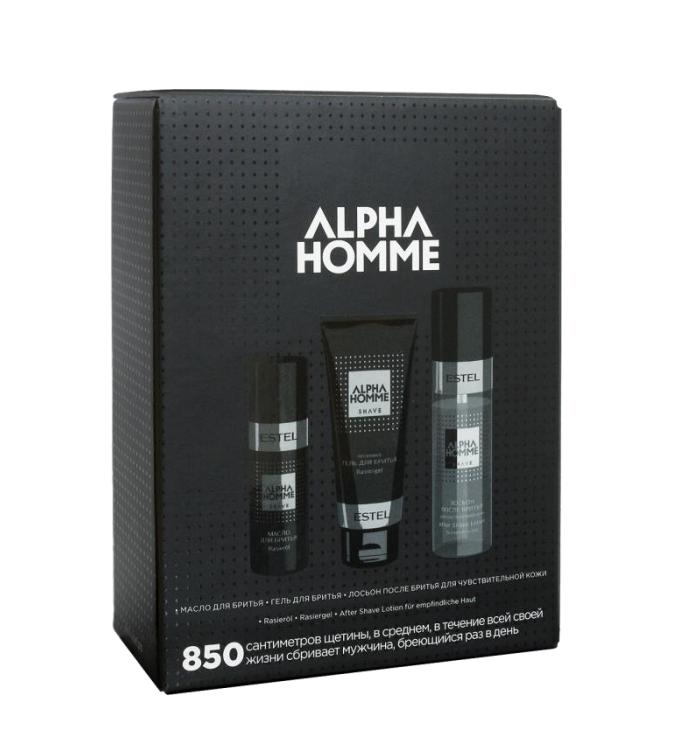 ESTEL PROFESSIONAL Набор для бритья (масло для бритья, гель для бритья, лосьон после бритья для чувствительной кожи) / ALPHA HOMME 850