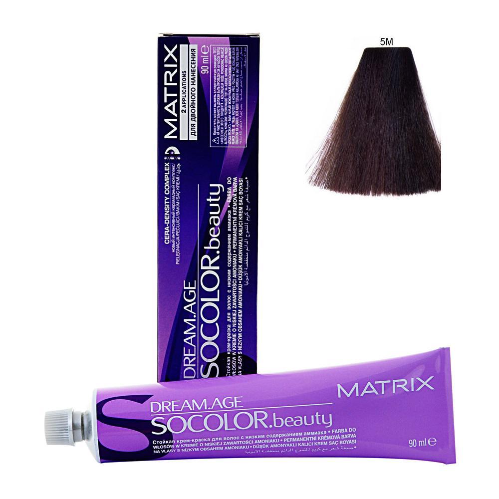MATRIX 5M краска для волос / СОКОЛОР БЬЮТИ D-AGE 90млКраски<br>Крем-краска Dream Age специально разработана для проведения окрашивания седых волос. Оттенки для волос с содержанием седины более 50%. Применение запатентованной технологии ColorGrip обеспечивает четкий и яркий оттенок, благодаря самонастраивающимся красителям, которые взаимодействуют с натуральным пигментом волоса. Также в состав краски входит кондиционер Cera-Oil, что обеспечивает бережных уход, укрепляет и питает структуру волос. Крем-краска удобно наносится и обладает приятным фруктовым ароматом. Богатый пигментами краситель: 100% закрашивание седины Мультирефлективный цвет Формула с низким содержанием аммиака Технология Pre-Softenung смягчает резистентный седой волос перед окрашиванием Не нужно смешивать с другими оттенками Используется с 6% Крем-Оксидантом Способ применения: смешайте краску с активатором в нужных пропорциях, после чего нанесите смесь на волосы и оставьте на 20-45 минут. После процедуры тщательно смойте краску теплой водой и высушите волосы полотенцем.<br><br>Цвет: Корректоры и другие<br>Объем: 90