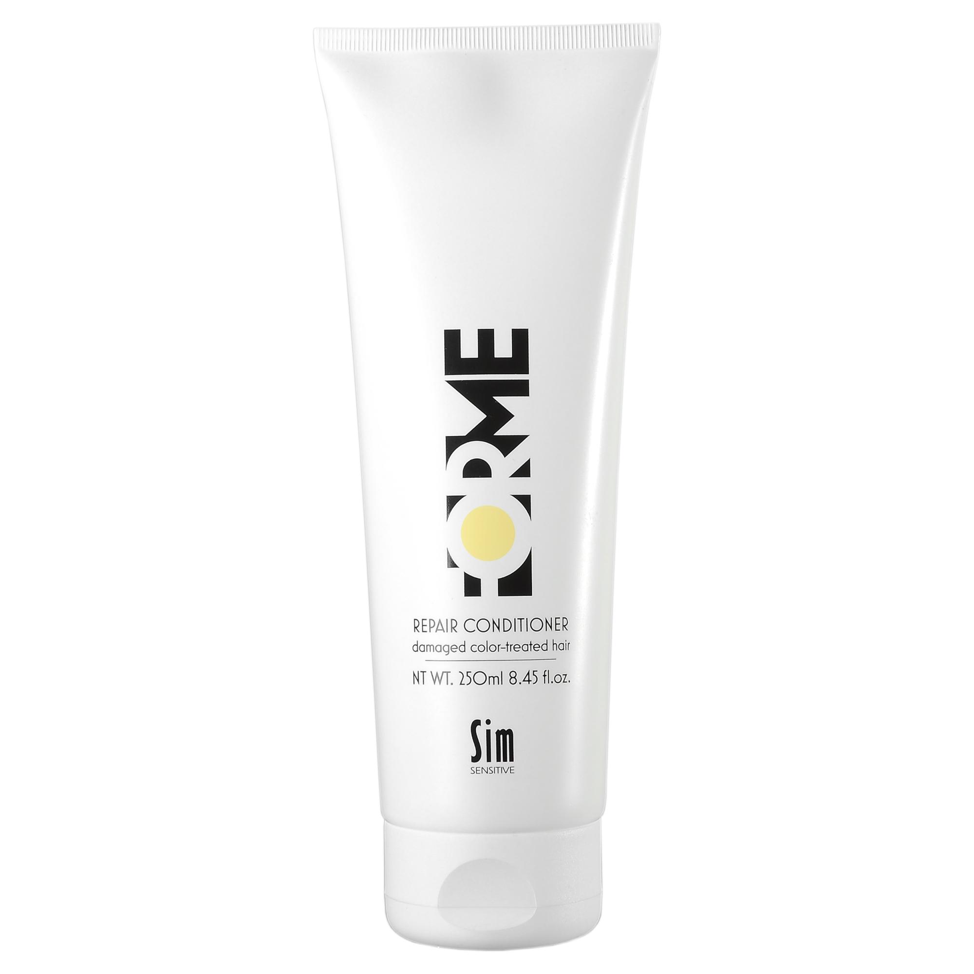 SIM SENSITIVE Бальзам для волос / Repair Conditioner FORME 250млБальзамы<br>Интенсивный восстанавливающий кондиционер для волос Repair обладает лечебным действием за счет натурального масла семян облепихи. Кондиционер идеально подходит для ежедневного ухода за окрашенными волосами. Обязательно применять после шампуня Forme Repair для закрытия кутикул волоса и придания гладкости волосам. Кондиционер укрепляет структуру волоса как внутри, так и снаружи и восстанавливает поврежденные участки волоса. Защищает от УФ-лучей. Основной действующий компонент Forme Repair   масло из мякоти и семян облепихи. Масло содержит полезные кислоты омега-9, которые легко проникают в кожу головы и структуру волоса, насыщая их витаминами, а также редкие кислоты омега-7, в частности пальмитолеиновую кислоту. Пальмитолеиновая кислота незаменима для волос, так как входит в состав кожного сала человека. Средства Forme с экстрактом облепихи восполняют недостаток этой кислоты, что препятствует выпадению волос и оказывает противогрибковое действие, придают блеск и укрепляют здоровье. Уходы Forme можно использовать как в комплексе для достижения максимального эффекта, так и по отдельности. Активный ингредиент:&amp;nbsp; Масло семян облепихи.&amp;nbsp; Способ применения: Нанесите бальзам на вымытые, подсушенные полотенцем волосы, оставьте на 2-5 минут. Затем тщательно смойте<br><br>Класс косметики: Лечебная