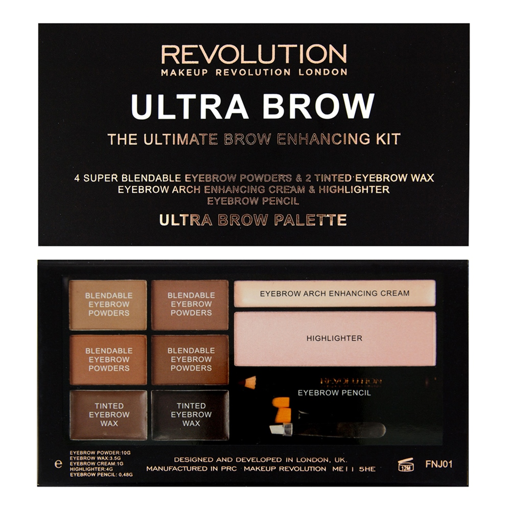 MAKEUP REVOLUTION Палетка теней для бровей / ULTRA BROW PALETTE Medium to Dark