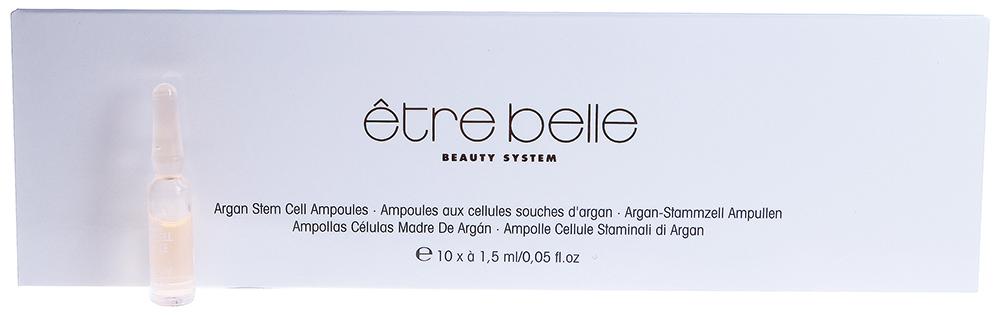 ETRE BELLE Ампулы Аргана (Argan-Stem-Cell Ampoules) 10*1.5млАмпулы<br>Этот комплекс на масляной основе богат жирными кислотами и витаминами. Именно витамины обладают особыми биологическими функциями. При их недостатке возникают серьезные нарушения в обмене веществ. Поэтому использование витаминов и жирных кислот имеет особое значение для шелушащейся, потрескавшейся, очень сухой и раздраженной кожи.  Регулярное использование ампул способствует восстановлению кожных покровов. Предотвращает старение кожи. Кожа становится мягкой, нежной и эластичной.  Способ применения: Рекомендуется использовать средство утром и вечером. На очищенную кожу нанесите препарат. Далее можно наносить крем.<br>