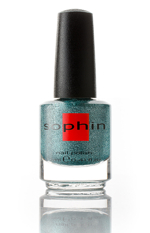 SOPHIN Лак для ногтей, серебристо-зеленый с добавлением глиттерных гексов 12мл