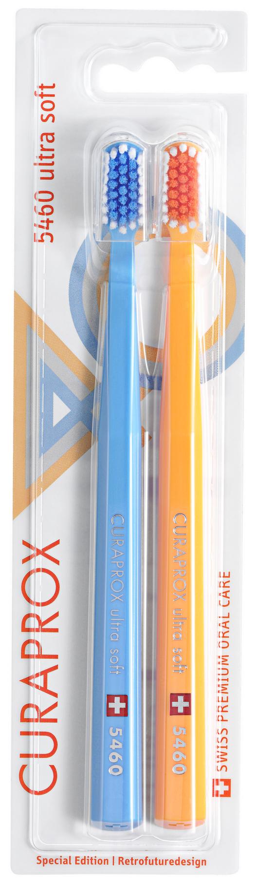 Купить CURAPROX Набор зубных щеток ultrasoft, d 0.10 мм, голубая и желтая / Retro Edition1 2 шт