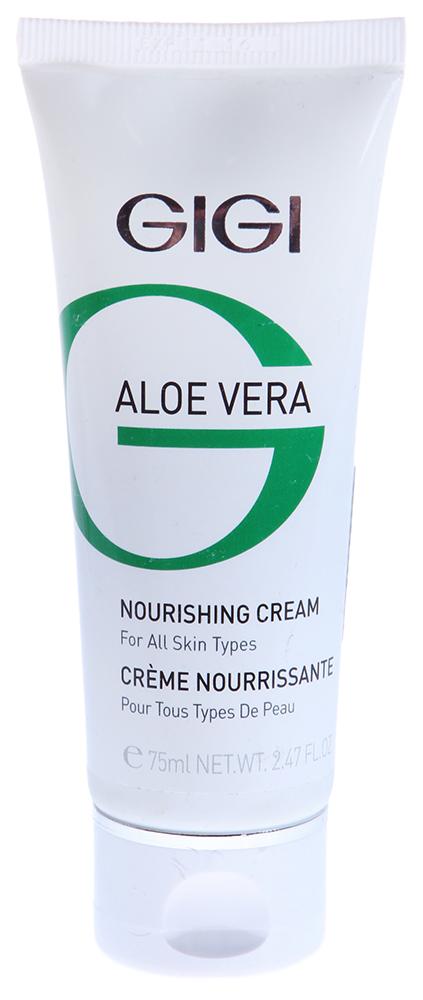 GIGI Крем питательный / Nourishing Cream ALOE VERA 75млКремы<br>Питательный крем богатой консистенции, обладающий успокаивающим и регенерирующим действием. Действие: Улучшает микроциркуляцию и клеточное дыхание, нормализует гидролипидный обмен. Активные ингредиенты: Масло Ши, сквален, масло мирры, экстракт полыни пустынной, экстракт Алоэ, экстракт водорослей, аллантоин, диметикон, пропиленгликоль. Способ применения: Нанести массажными движениями на чистую кожу лица, шеи и декольте до полного впитывания. Для составления массажной смеси взять по 2мл крема для век и шеи, питательного крема, увлажняющего крема и геля Алоэ Вера.<br><br>Объем: 50