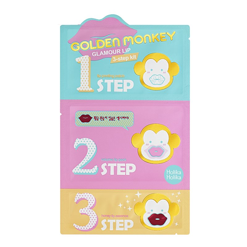 HOLIKA HOLIKA Набор средств 3-х ступенчатый для ухода за губами Гламур лип / Golden Monkey Glamour Lip 3-Step Kit