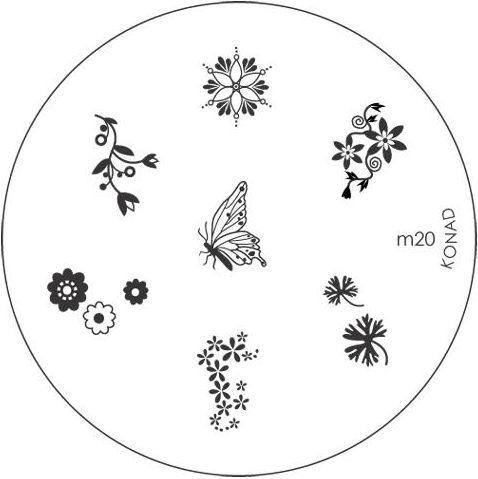 KONAD Форма печатная (диск с рисунками) / image plate M20 10грСтемпинг<br>Диск для стемпинга Конад М20 с цветочками и бабочками. Несколько видов изображений, с помощью которых вы сможете создать великолепные рисунки на ногтях, которые очень сложно создать вручную. Активные ингредиенты: сталь. Способ применения: нанесите специальный лак&amp;nbsp;на рисунок, снимите излишки скрайпером, перенесите рисунок сначала на штампик, а затем на ноготь и Ваш дизайн готов! Не переставайте удивлять себя и близких красотой и оригинальностью своего маникюра!<br>