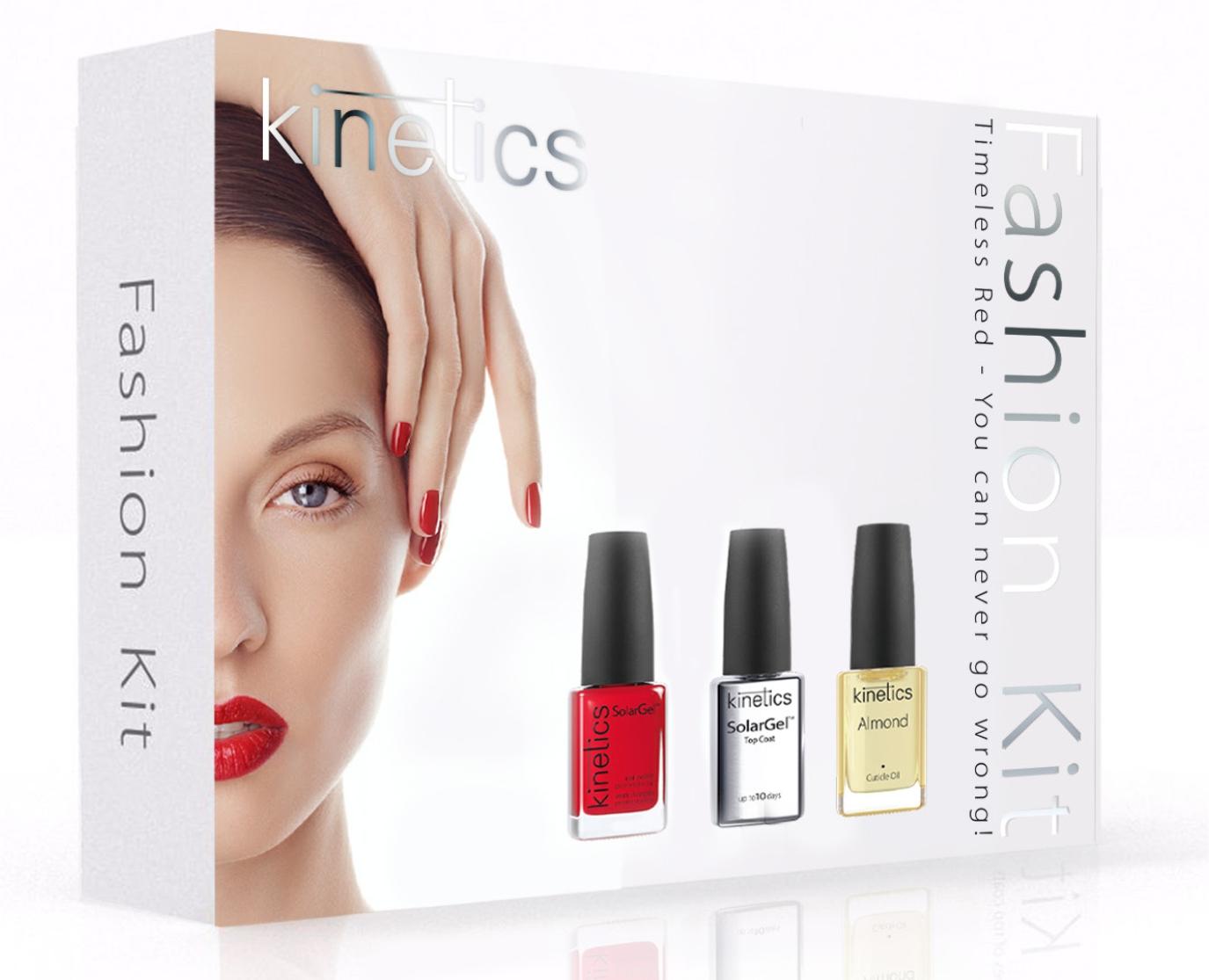 KINETICS Подарочный набор Kinetics Fashion Kit 15 млНаборы <br>Новогодний набор Kinetics Fashion Kit состоит из трех классических продуктов: 1. Гелевый лак Gel  21, 15 мл. 2. Верхнее покрытие Solar Gel Top Coat, 15 мл. 3. Увлажняющее масло для кутикулы Almond (Миндаль), 15 мл.<br><br>Цвет: Красные