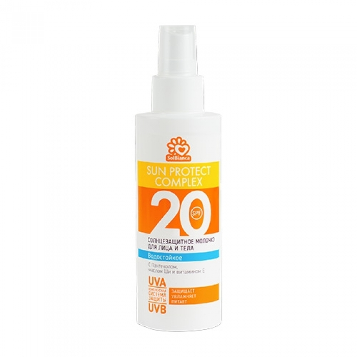 SOLBIANCA Солнцезащитное, водостойкое молочко-спрей SOLBIANCA 20 SPFдля лица и тела 150 млМолочко<br>Средство содержит инновационный комплекс UVA/UVB фильтров, который обеспечивает надежную защиту от ультрафиолетовых лучей. Пантенол способствует регенерации, активизирует синтез коллагена и обеспечивает эффективную защиту от ожогов. Витамин Е и масло дерева Ши активно питают и увлажняют кожу, предохраняя от преждевременного старения. Активные ингредиенты: содержит инновационный комплекс UVA/UVB фильтров, витамин Е и масло дерева Ши. Состав: Aqua, Ethylhexyl Methoxycinnamate, Palm Oil, Glycerin, Butyrospermum Parkii Oil, Cetearyl Alcohol, Panthenol, Paraffinum Liquidum, Cetyl Palmitate, Ceteareth-12, Ceteareth-20, Benzophenone-3, Dimethicone, Zinc Oxide, Titanium Dioxide, Glyceryl Stearate, Tocopheryl Acetate, PEG-100 Stearate, Phenoxyethanol, Methylparaben, Ethylparaben, Propylparaben, Parfum. Способ применения: равномерно распределите на все тело. Дайте впитаться в кожу не менее 15 минут.<br><br>Типы кожи: Для всех типов