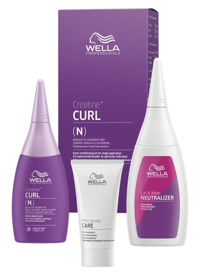 WELLA PROFESSIONALS Набор для нормальных волос от тонких до трудноподдающихся (лосьон 75 мл, фиксатор 100 мл, уход 30 мл) / Creatine+ Curl фото