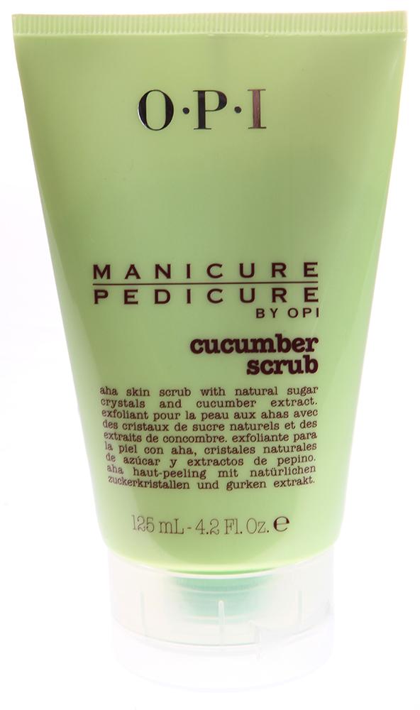 OPI Скраб для рук и ног Огурец / Manicure-Pedicure Cucumber Scrub 125млСкрабы<br>АНА -скраб с натуральными кристаллами сахара и экстрактом огурца. Входящие в формулу натуральные кристаллы сахара помогут справиться с мозолями и отшелушат сухую, ороговевшую кожу, а антиоксидантные свойства огурца и ананаса помогут ее смягчить. АНА тройного действия благодаря глубокому прониконвению сделают кожу шелковистой.<br><br>Объем: 125<br>Назначение: Мозоли