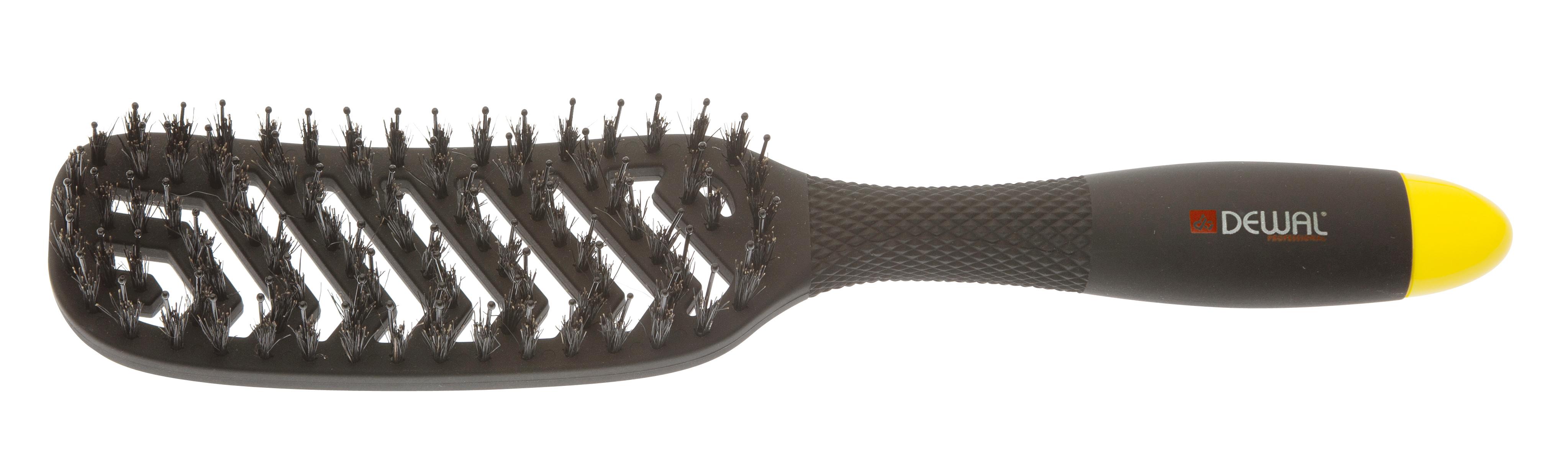 Dewal professional щетка массажная banana black прямоугольная, продувная, пластиковый штифт, натуральная щетина, 8 рядов