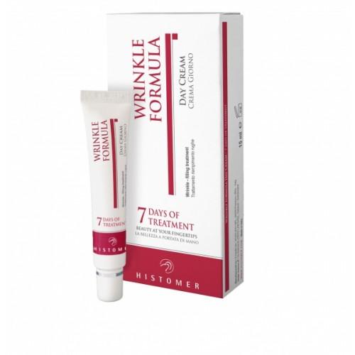 HISTOMER Крем дневной на 7 дней / WRINKLE 15млКремы<br>Wrinkle 7 Days of treatment   легкий и богатый по формуле дневной крем - безопасная и эффективная альтернатива инъекционным процедурам для разглаживания морщин. При ежедневном использовании крема уже через неделю кожа будет выглядеть безукоризненно гладкой и помолодевшей. Крем на стволовых клетках растений увлажняет кожу изнутри и предотвращает появление новых мимических морщин. Нежная текстура впитывается сразу же после нанесения не оставляя следов на коже. Активные ингредиенты: стволовые клетки растений (экстракт корня дуба, экстракты почек бука), лизат бифида ферментов, Восстановительный Комплекс Repair Complex CLR, ацетилглюкозамин, аминокислота креатин, HFM  - силиконовые микросферы с гиалуроновой кислотой, витамины Е и С, солнцезащитные фильтры SPF15.<br><br>Объем: 15 мл<br>Вид средства для лица: Легкий<br>Назначение: Морщины<br>Время применения: Дневной