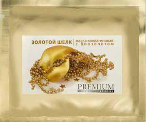 PREMIUM Маска коллагеновая с биозолотом Золотой шелк / Intensive 1шт