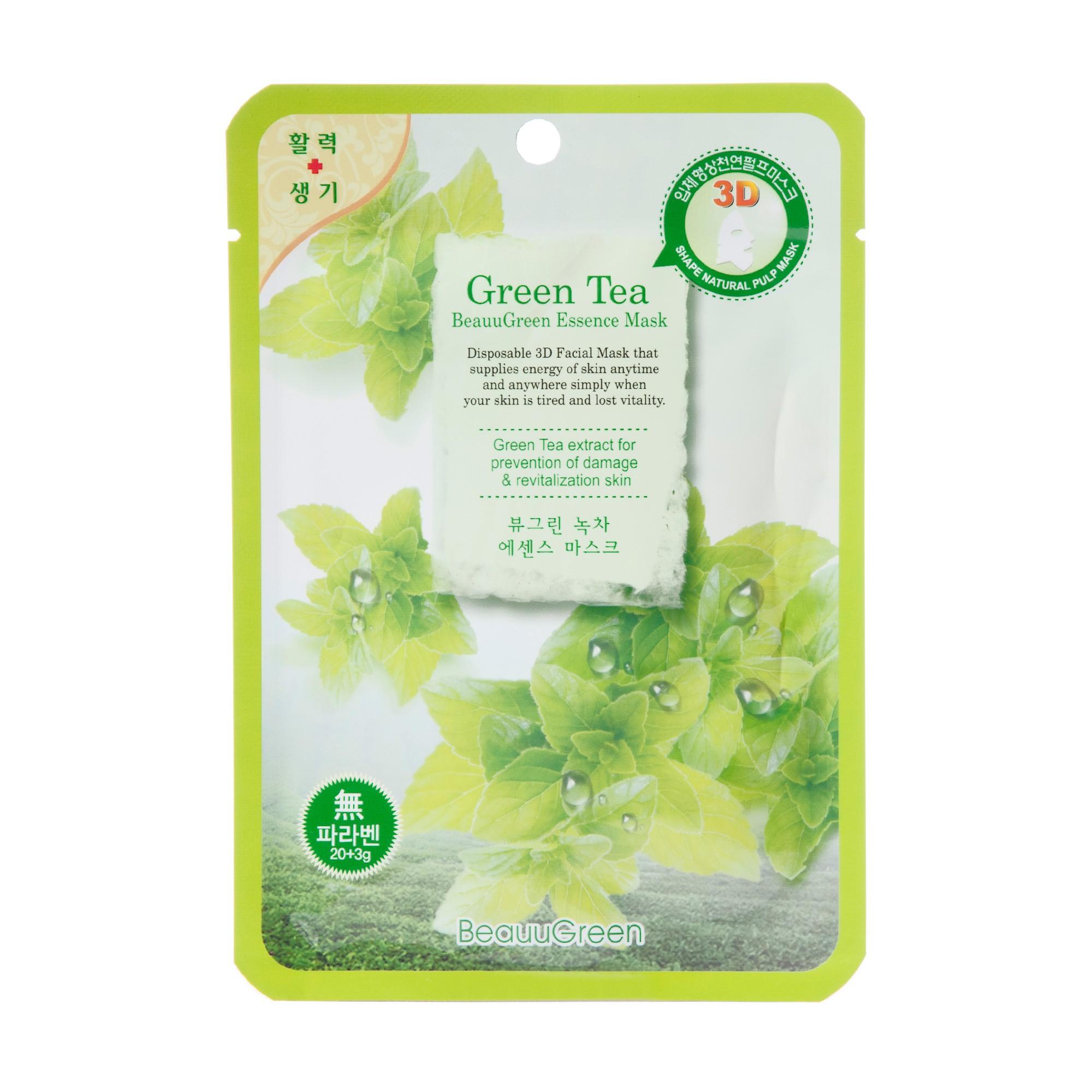 BEAUUGREEN Маска Зеленый чай / 3D 23грМаски<br>Маска для лица на основе биоцеллюлозы с экстрактом зеленого чая. Насыщает кожу влагой, снимает оксидативный стресс, а так же оказывает противовоспалительное и себорегулирующее действие. Подходит для кожи любого возраста. Активные ингредиенты: биофлавоноиды зеленого чая, натуральный сок алоэ. Способ применения: извлечь маску из саше, равномерно распределить на лице, выдержать экспозицию 20минут. Основу маски снять, остаткам концентрата дать впитаться, при необходимости нанести крем.<br>
