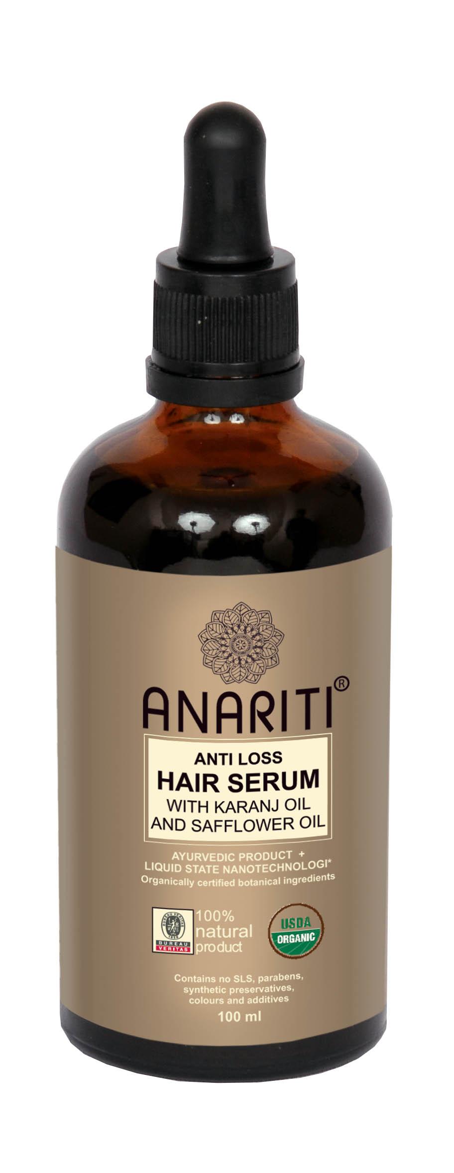 ANARITI Сыворотка против выпадения волос с маслом каранджи и маслом дикого шафрана 100 мл