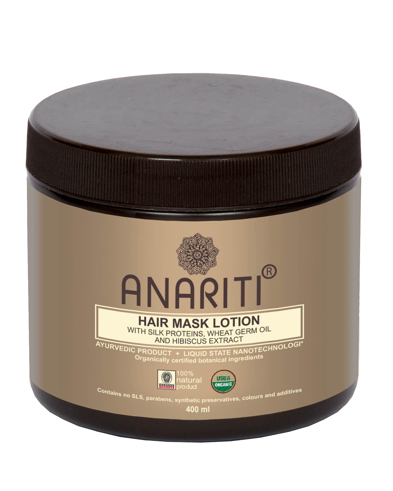 ANARITI Маска-лосьон для волос с протеинами шелка, маслом зародышей пшеницы и экстрактом гибискуса 400 мл