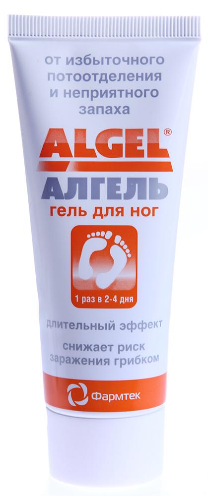 ФАРМТЕК Крем против обильного потоотделения для ног Algel 75млКремы<br>АЛГЕЛЬ для ног – медицинский антиперспирант длительного действия с противогрибковым эффектом. Нормализует потоотделение и устраняет неприятный запах. При использовании в области подошв стоп АЛГЕЛЬ для ног обеспечивает полный комфорт на 2-4 дня. Безопасен и не имеет ограничений по длительности использования. Показан к применению при повышенном потоотделении стоп вне зависимости от причины. Активным компонентом АЛГЕЛЯ для ног является алюминия хлоргидрат (15%). АЛГЕЛЬ для ног нормализует выделение потовой жидкости на поверхность кожи. При этом работа потовых желез не останавливается и вырабатываемая жидкость через кровеносные сосуды перераспределяется в области с менее выраженной склонностью к потоотделению. В результате кожа остается сухой и исключаются условия для образования неприятного запаха и заражения грибком стоп. Безопасность АЛГЕЛЯ для ног обусловлена тем, что он не обладает раздражающим или токсическим эффектом на поверхности кожи и не проникает в организм через поверхность кожи. Нормализует потоотделение, когда обычные средства не эффективны; устраняет неприятный запах; снижает риск заражения грибком кожи и ногтей стоп; безопасен и не имеет ограничений по длительности использования; легко наносится и дозируется; не оставляет следов на одежде; не содержит спирта; одой тубы хватает на 3 – 5 месяцев. Активные ингредиенты: алюминия хлоргидрат (15%), фенохем, экстракты шалфея, зеленого чая, ромашки. Способ применения: перед нанесением АЛГЕЛЯ для ног вымойте и тщательно высушите кожу стоп. Нанесите средство на кожу стоп, в том числе с тыльной стороны стопы, на пальцах и межпальцевых промежутках. Дайте коже высохнуть 3 – 5 минут. Не мочите кожу 2 – 3 часа. Если после первого нанесения потоотделение сохраняется необходимо повторить процедуру на следующий день. Наилучший эффект достигается при нанесении средства на ночь. Для получения устойчивого эффекта требуется 2 - 3 ежедневных применения. За