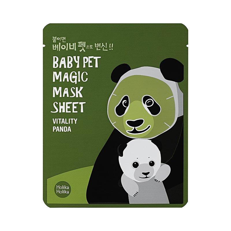 HOLIKA HOLIKA Маска-мордочка тканевая тонизирующая (панда) & Бэби Пэт Мэджик&  / Baby Pet Magic Mask Sheet Vitality Panda 22мл -  Маски