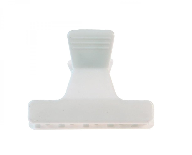 SIBEL Зажим пластиковый широкий белый 12 шт/уп