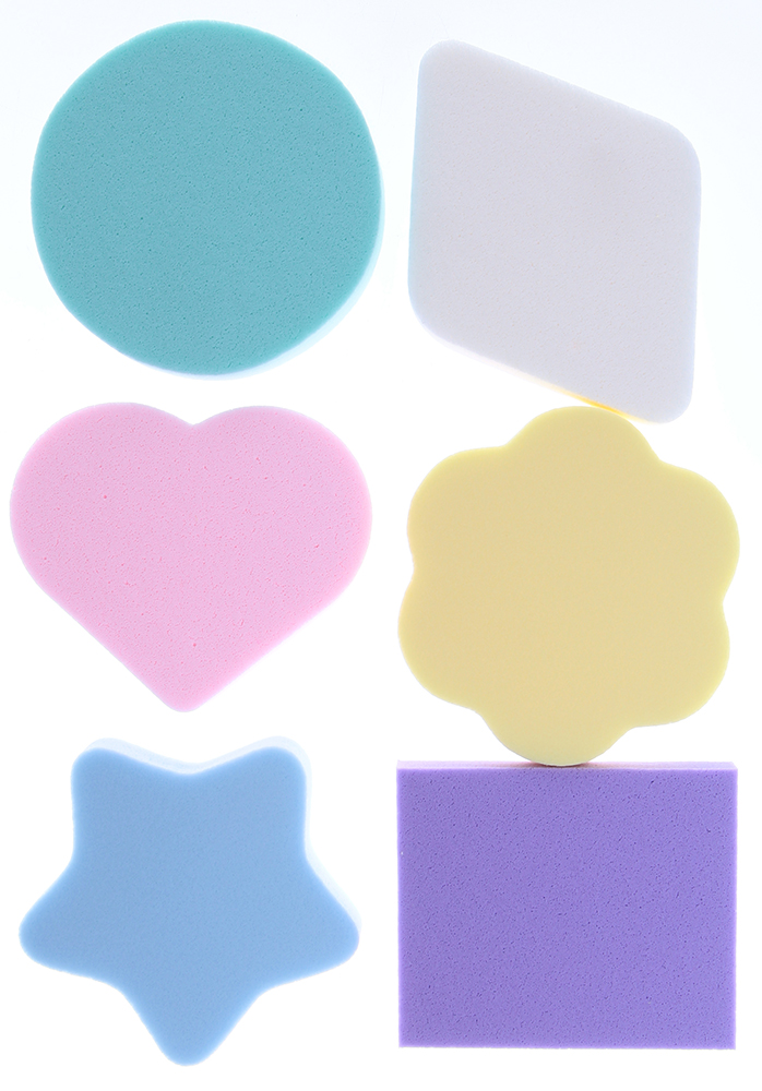 TITANIA Губка макияж 6шт/упГубки<br>Комплект цветных поролоновых губок Titania разной формы для снятия/нанесения макияжа, 6 штук.<br>