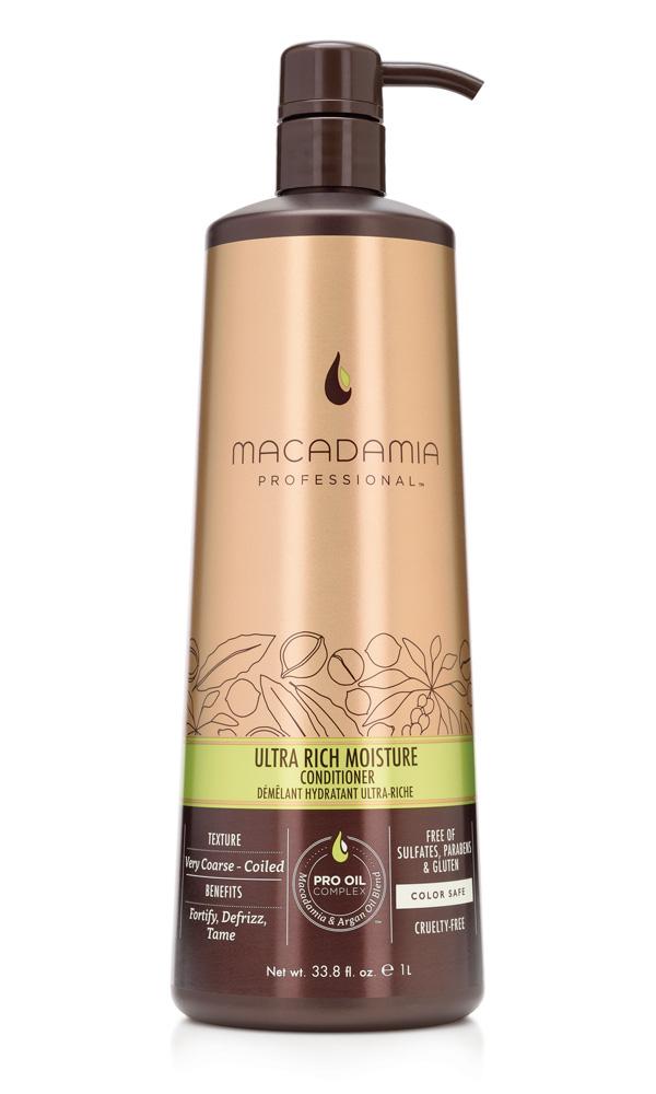 MACADAMIA PROFESSIONAL Кондиционер увлажняющий для жестких волос / Ultra rich moisture conditioner 1000млКондиционеры<br>Сочетание эксклюзивного комплекса PRO OIL COMPLEX, масел авокадо и монгонго в увлажняющем кондиционере Macadamia Professional обеспечивает интенсивное восстановление и увлажнение волос, устраняет эффект пушистости и подчеркивает естественную форму локонов и текстуру волос. Сочетание аминокислот шелка, витаминов A, C и E укрепляет волосы и придает эластичность. Обеспечивает защиту от действия УФ-лучей и неблагоприятных факторов окружающей среды. Преимущества: Укрепление, контроль пушистости, управляемость Ультра увлажнение Интенсивное восстановление Сохранение цвета окрашенных волос Без сульфатов, парабенов и глютена Активные ингредиенты: Масло макадамии, Омега 7, 5 и 3 жирные кислоты обеспечивают увлажнение Масло арганы, Омега 9 жирные кислоты восстанавливают и укрепляют Масло авокадо и монгонго - интенсивное восстановление, антивозрастной эффект Аминокислоты шелка и витамины А, С и Е - обеспечивают прочность и эластичность Состав: вода,Цетеариловый спирт,Цетиловый спирт,Глицерин,Бутилен Гликоль,Диметикон,Цетримониум хлорид,Стеариловый спирт,Изопропил Пальмитат, Изогексадека, Циклопентасилоксан, Масло макадамии,Масло Авокадо,Аргановое масло,Масло Монгонго,Пантенол,Ацетат Витамина Е,Фосфолипиды,Ретинил пальмитат (витамин А),Аскорбил Пальмитат,Стеаралкониум хлорид,Поликватериум-55,Диоксид титана,Мика,Оксиды железа,Гидроксиэтил,целлюлоза,Сополимер ДивиниДиметикона и Диметикона,У12-13 Парет-23,У12-13 Парет-3,Тетранатрий этилендиамин-уксусной кислоты ,Феноксиэтанол,Метилхлороизотиазолин,метилизотиазолинон,Кватерниум-95,Пропандиол,Лимонная кислота,Бензил Салицилат,Бутилфенил Метилпропионал,Гексил Циннамал,Линалоол,аромат Способ применения: нанесите небольшое количество кондиционера на вымытые шампунем волосы по всей длине. Оставьте для воздействия на 1 мин. Смойте.<br><br>Вид средства для волос: Увлажняющий<br>Типы волос: Для всех типов