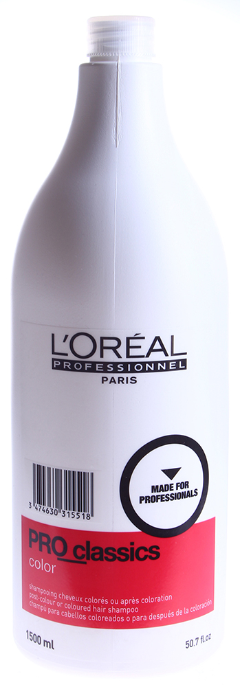 LOREAL PROFESSIONNEL Шампунь технический очищающий Про_Классикс 1500млШампуни<br>Мощный шампунь, который удаляет с волос остатки окисляющих веществ и усиливает свойства стойкой крем-краски Мажирель, краски тон в тон Диаколор, антивозрастной краски двойного действия Колор Супрем. Активные компоненты в составе шампуня взаимодействуют с полимером Ионеном G, содержащимся в красителях. Не вызывает раздражения кожи головы, а использование шампуня в день окрашивания предохраняет цвет от вымывания.  Способ применения: Разотрите между ладонями небольшое количество шампуня, вспеньте на волосах аккуратными массажными движениями, смойте теплой водой.<br><br>Вид средства для волос: Очищающий<br>Типы волос: Окрашенные<br>Назначение: после окрашивания