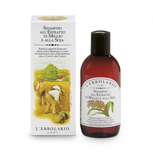 LERBOLARIO Шампунь с экстрактом проса и соей 200 млШампуни<br>Подходит для частого мытья. Предотвращает выпадение волос. Правильное очищение волос и кожи головы является необходимым условием для предотвращения выпадения волос. Этот шампунь предназначен для частого, даже ежедневного, мытья волос. Его также рекомендуется использовать периодически как альтернативу шампуням со специфическим воздействием. Шампунь Просо и соя защищает и восстанавливает белковую структуру волос, делая их блестящими, послушными и сильными. Активные ингредиенты: экстракт проса, гидролизованные белки сои. Способ применения: нанесите небольшое количество шампуня на смоченные водой волосы, помассируйте, смойте. Повторите процедуру.<br><br>Назначение: Выпадение