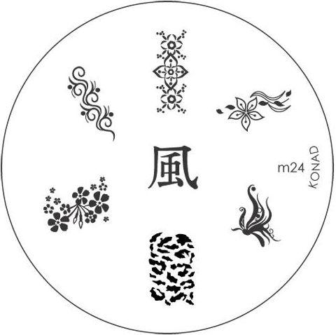 KONAD Форма печатная (диск с рисунками) / image plate M24 10грСтемпинг<br>Диск для стемпинга Конад М24 с восточной тематикой. Цветы, орнаменты и иероглиф. Несколько видов изображений, с помощью которых вы сможете создать великолепные рисунки на ногтях, которые очень сложно создать вручную. Активные ингредиенты: сталь. Способ применения: нанесите специальный лак&amp;nbsp;на рисунок, снимите излишки скрайпером, перенесите рисунок сначала на штампик, а затем на ноготь и Ваш дизайн готов! Не переставайте удивлять себя и близких красотой и оригинальностью своего маникюра!<br>