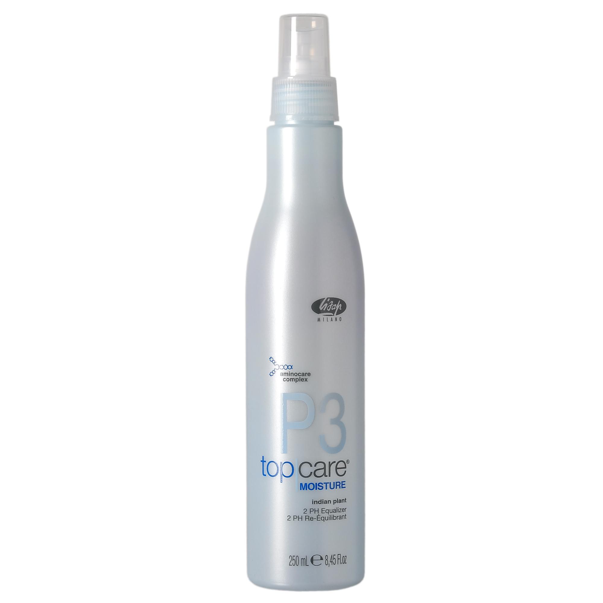 LISAP MILANO Спрей-бальзам двухфазный для устранения пористости волос / TOP CARE MOISTURE 250млБальзамы<br>Мгновенно восстанавливает баланс пористости на повреждённых участках волос. Облегчает ежедневную укладку. Хорошо увлажняет и питает волосы. Возвращает им естественную мягкость и блеск по всей длине от корней до кончиков. Незаменимое средство для ухода за волосами после любой химической обработки. Может наноситься также на сухие волосы для облегчения ежедневного стайлинга, обеспечивает идеальную защиту от температурного воздействия при использовании керамических утюжков и других средств. Активные ингредиенты: комплекс Aminocare (керамиды А2, аминокислоты пшеницы, экстракт гибискуса, микропротеины Puricare), экстракт кассии узколистой, масло жожоба, масло карите, масло авокадо, гидролизованные протеины шёлка, кератин. Способ применения: взболтать, чтобы соединить две составляющие фазы, распылить на влажные волосы. Не смывать.<br><br>Тип: Спрей-бальзам<br>Вид средства для волос: Двухфазный