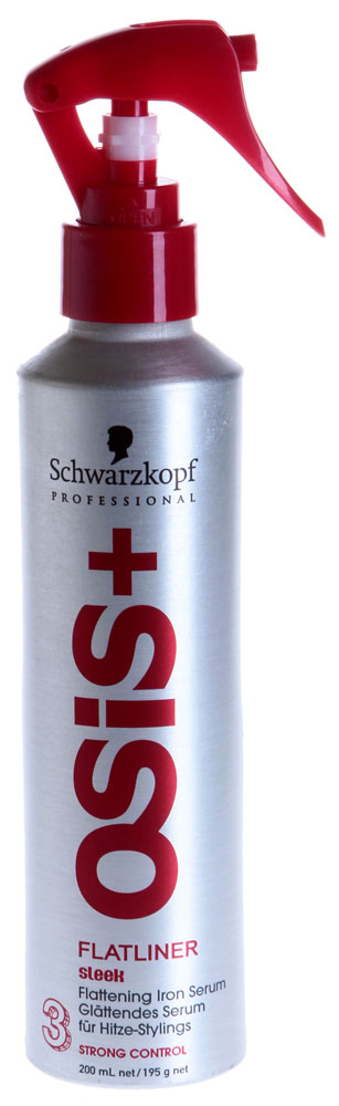 SCHWARZKOPF PROFESSIONAL Сыворотка для выпрямления волос / Flatliner OSIS+ 200млСыворотки<br>Контроль гладкости волос Защита волос при нагревании до 200С Длительный эффект гладких и блестящих волос Защита от воздействия влаги Выпрямление волос Гарантия результата независимо от уровня пористости волос Маскимальный контроль гладкости. Применение: На сухих волосах: высушите волосы феном, затем нанесите сыворотку на отдельные пряди перед использованием утюжка. На влажных волосах: нанесите сыворотку на всю поверхность волос перед тем, как их высушить феном, затем используйте утюжок на сухих волосах.<br><br>Объем: 200<br>Вид средства для волос: Разглаживающий<br>Типы волос: Сухие